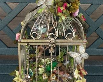 FAIRY HOUSE - Fairy Habitat - Altered Birdcage - Shabby Chic - Night Light - Birdcage -  Fairy Cage - Meesha