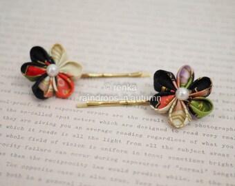 2 pcs handmade fabric flower hair pins - Japanese black kimono print