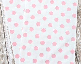 12 Pink and white polka dot paper favor bags, baby shower favor bags, light pink and white candy bags, wedding favor bags