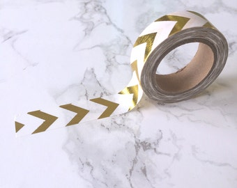 White & Gold Foil Chevron Stripe Washi Tape // Decorative Paper Masking Drafter Planner Scrapbooking Tape