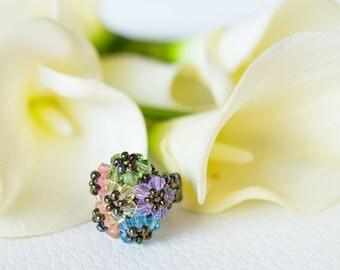 Pastel color ring Swarovski – flower ring – unique Swarovski jewelery
