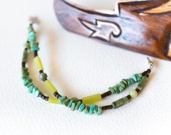 Turquoise gemstone bracelet – teal semi precious stone bracelet – green bracelet – turquoise natural stones - beaded bracelet