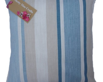 "Hand made cushion cover made from Laura Ashley Awning Stripe Seaspray fabric in sizes 10"" to 24"""