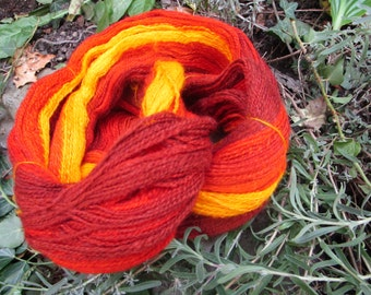 """Wool spun and dyed by hand Blueface Leceister and silk tussah """"Magma"""""""