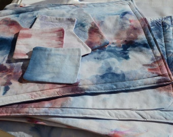 6 Hand Dyed Placemats and Coasters Set