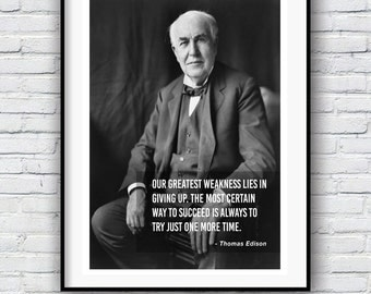 Thomas Edison, Quote poster, Typographic print, Inpirational Genius Quote, Sizes A4-A0