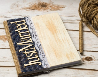 Guest Book Wedding Guestbook Mr Mrs Nvy Blue Rustic Wedding Book Rustic Burlap Decoration Note book Vow Books