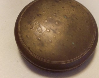 Vintage Luxor Rouge Compact ~ Round ~ Brass Small Ladies Compact