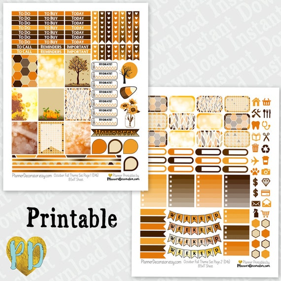 Fall Forest KIT! | Free Printable Planner Stickers ...