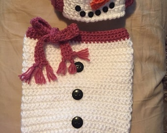 Snowgirl Cocoon and Hat Set