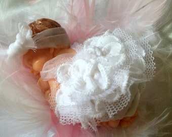 Decorative ball / white baby dress-fimo-daughter suspension / dress of baptism/gift godmother /baby shower/birth/made Christmas-figurine-hand