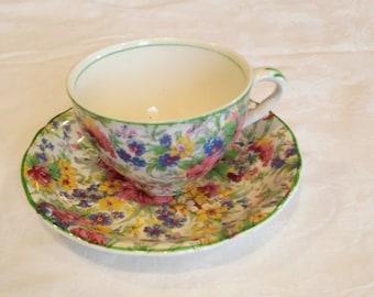 Vintage 1960's Floral Tea Cup and Saucer, Burslem, Midwinter, Porcelain