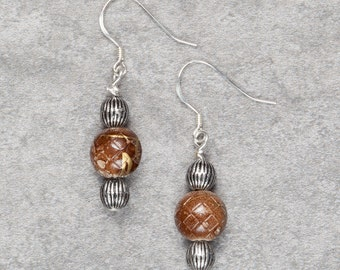 Brown and Gold Beaded Drop Earrings (013)
