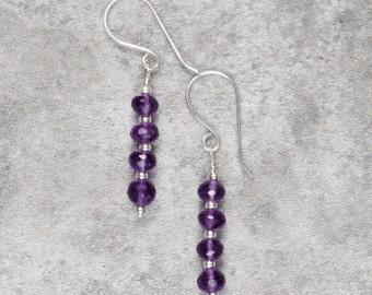 Amethyst and Sterling Silver Drop Earrings (039)
