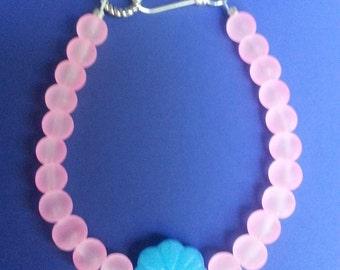 Girl's Pink and Blue Glass Beaded Bracelet