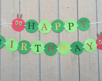 Hungry Caterpillar Happy Birthday Party Banner