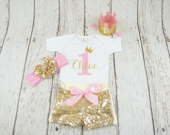 1st birthday outfit, , princess birthday outfit, pink and gold birthday, gold sequin shorts, 2nd birthday outfit, first birthday, baby girl