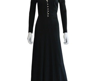 Black Ossie Clark Crepe Gown