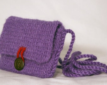 Inner Strength Serenity Sack felted wool crossbody bag shoulder bag felted purse adjustable strap purple, tree of life button