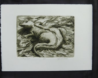 Etching with Aquatint Lizard Etching