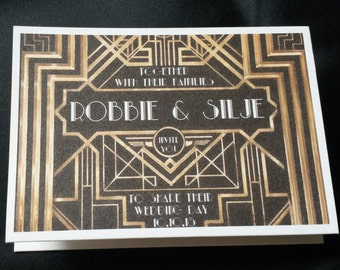 Great Gatsby Inspired Fold Out Wedding Invitation