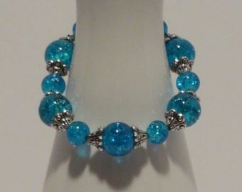BLUE GLASS BEADS (10mm) with silver tone bead caps - Stretchy Beaded Bracelet - Fun 104