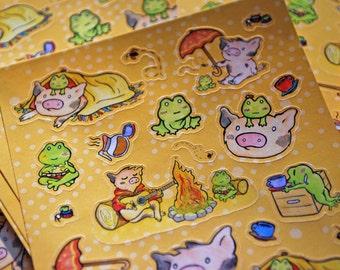 Cute Little Pig Japanese Kawaii Style Piggy Sticker Sheet