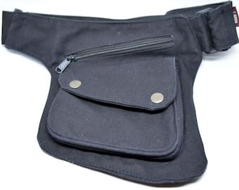 The Hipster Cotton Utility Belt Festival Belt Black Pocket Belt Bum Bag Hip Bag Festival Fanny Pack Gift for her for Him marsupio canvas
