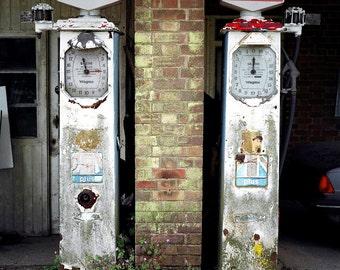 Petrol Pumps photo, urban, retro photography, vintage, large artwork, wall art, urban UK, petrol station, photography, travel, hipster photo