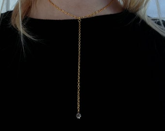 Droplet necklace gold tone necklace