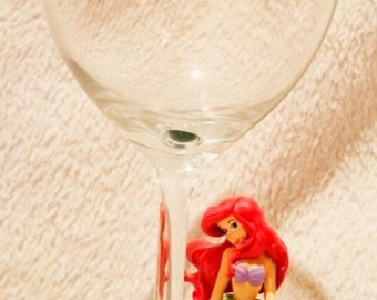 Bullyland Mermaid Figurine Glitter Wine Glass