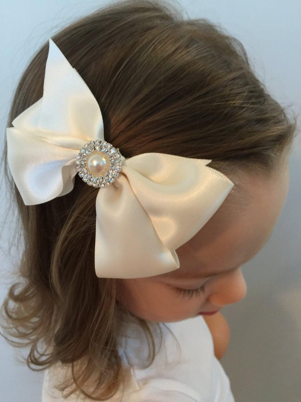 Flower girl bow Ivory wedding hair Ivory satin bow