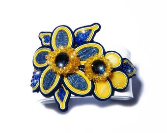 Denim Flowers Bracelet