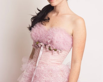 Strapless Vintage Pink Lace Prom Dress 1940's