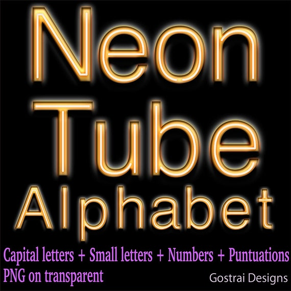 Orange Neon Tube Digital Letters Clipart Letters And Numbers