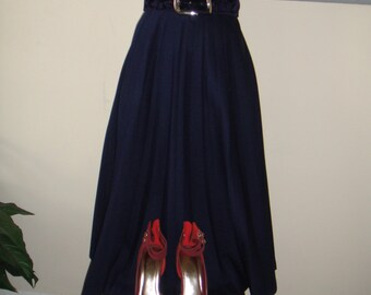 Vintage Retro Midi Pleated Blue Skirt