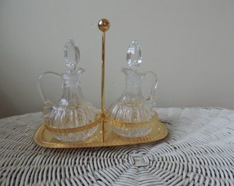 Oil and vinegar bottles crystal and gold plated set