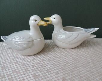 Otagiri Bird Creamer and Sugar Bowl Vintage Japan