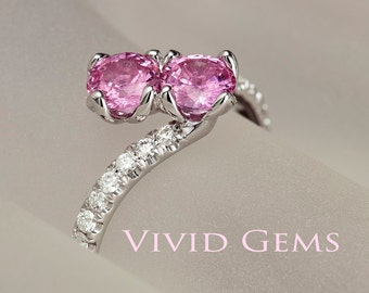 Natural Pink Sapphire Ring, You and Me ring, two stone engagement ring, 14k Solid White Gold Ring, Diamond Ring, Toi et Moi
