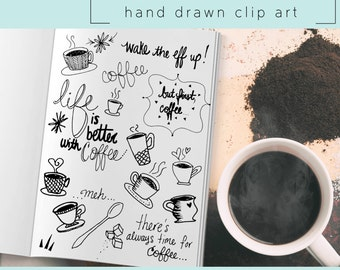 Hand Drawn Clip Art / PNG files / Photoshop brushes / Digital Download / Coffee / Tea / Tea Cup / Quote / Hand Written / Doodle / Sugar