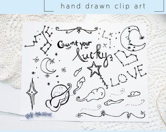 Hand Drawn Clip Art / PNG files / Photoshop brushes / Digital Download / Stars / Constellation / Astrology / Moon / Love / Zodiac