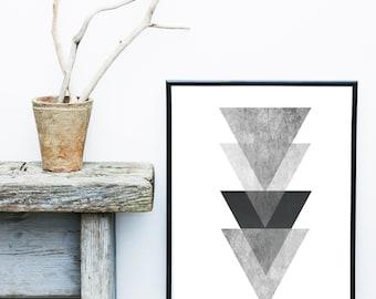Grey Triangle Print, Geometric Art, Geometric Wall Art, Scandinavian Art, Minimalist Poster, Giclee print, Abstract Wall Art, Art Print