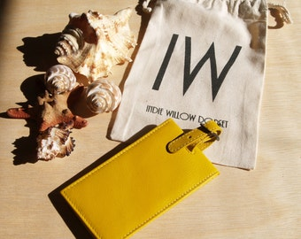 Leather Luggage Tag in Yetminster Yellow