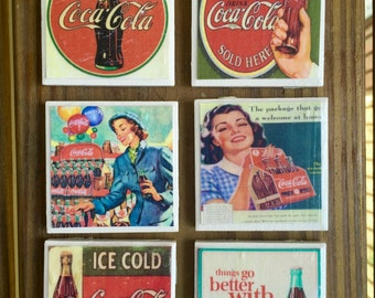 Vintage Coca Cola Magnets (set of 6)