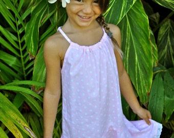 Pink and White Dot Halter Swing Dress, made on Kauai, Hawaii