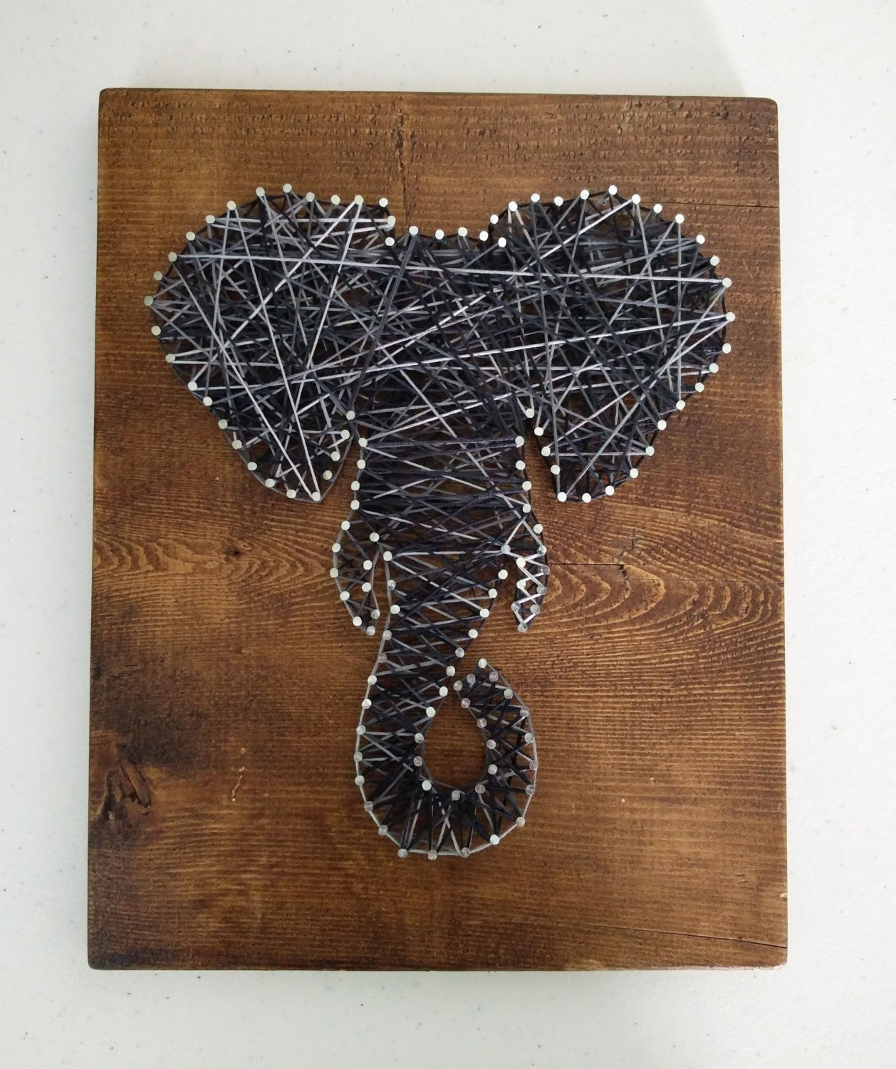 Wood Nail Art: Elephant String Nail Art On Stained Wood