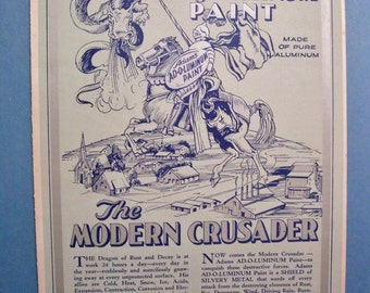 "The Adams Paint Co. AD-O-LUMINUM PAINT 8.5"" x 11.4"" advertising page"