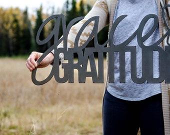 "Grace & Gratitude sign (large)- raw steel (23""w x 11.5""h)  (metal art, wall decor, fall, thankful, give thanks, gratitude, grace)"