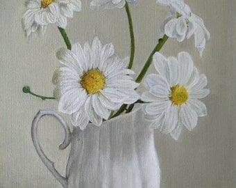 "ORIGINAL Oil Painting, ""Camomiles Bouquet in Vase"", Hand Painted Flowers, Art on Canvas - Signed by Artist"