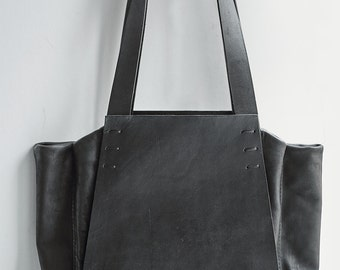 leather tote bag - 019Y-black